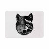 "BarmalisiRTB ""Night Wolf"" Black White Illustration Memory Foam Bath Mat - KESS InHouse"