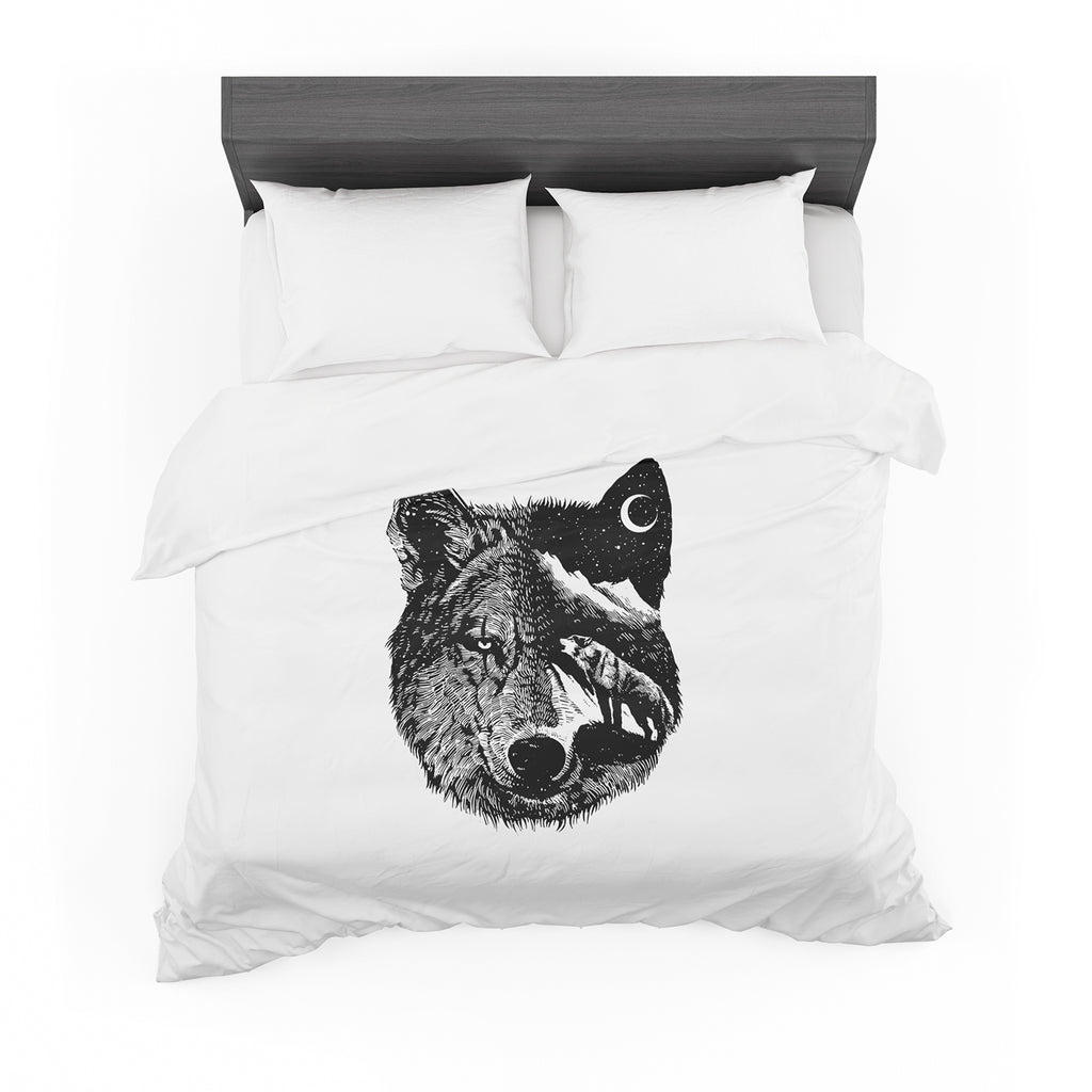 "BarmalisiRTB ""Night Wolf"" Black White Illustration Featherweight Duvet Cover - KESS InHouse  - 1"