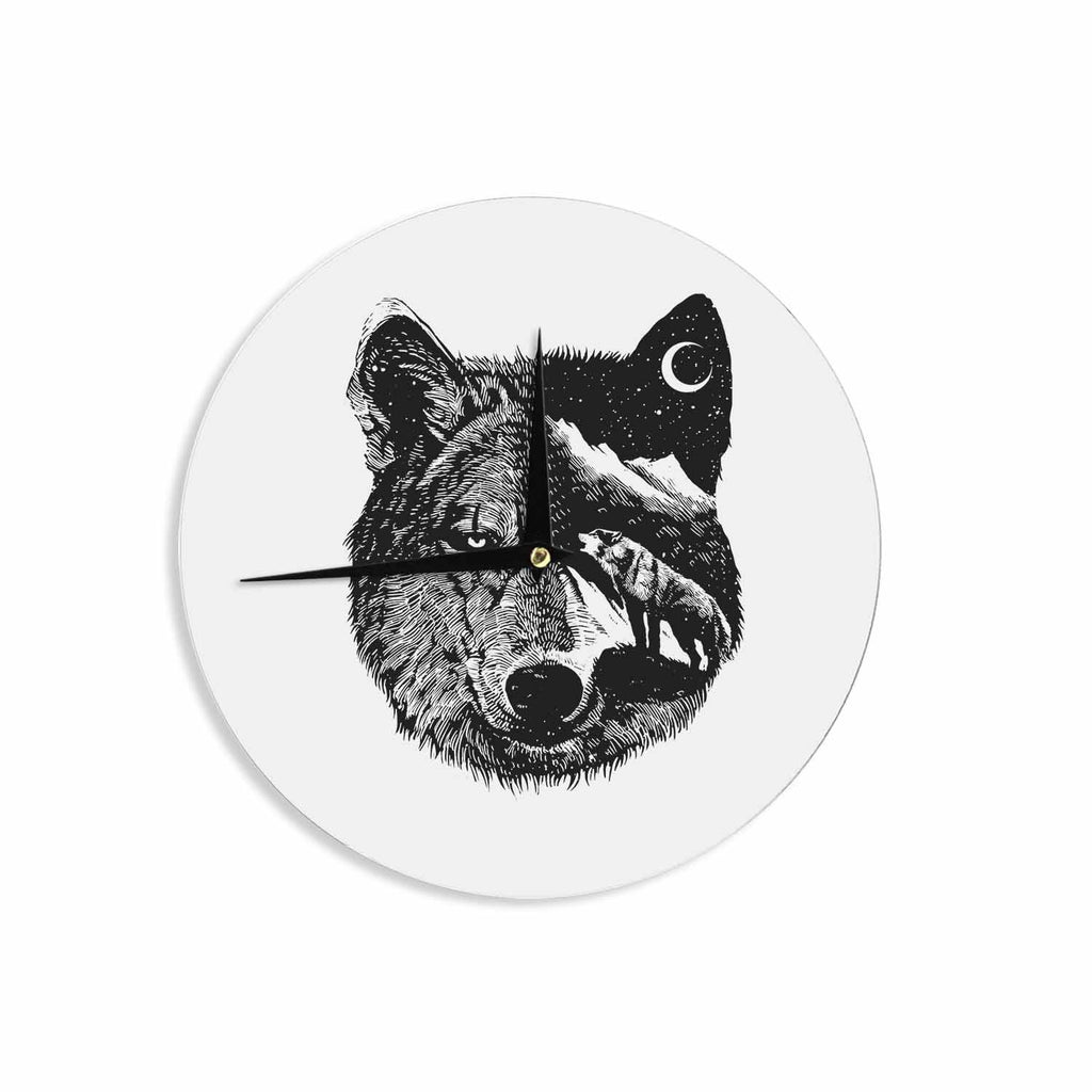 "BarmalisiRTB ""Night Wolf"" Black White Illustration Wall Clock - KESS InHouse"