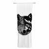 "BarmalisiRTB ""Night Wolf"" Black White Illustration Decorative Sheer Curtain - KESS InHouse  - 1"