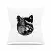"BarmalisiRTB ""Night Wolf"" Black White Illustration Outdoor Throw Pillow - KESS InHouse  - 1"