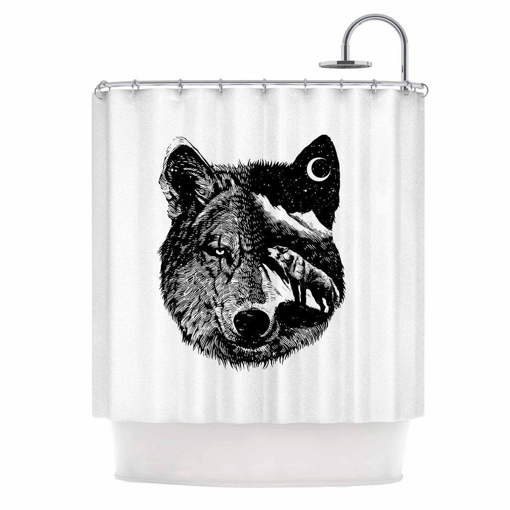 "BarmalisiRTB ""Night Wolf"" Black White Illustration Shower Curtain - KESS InHouse"