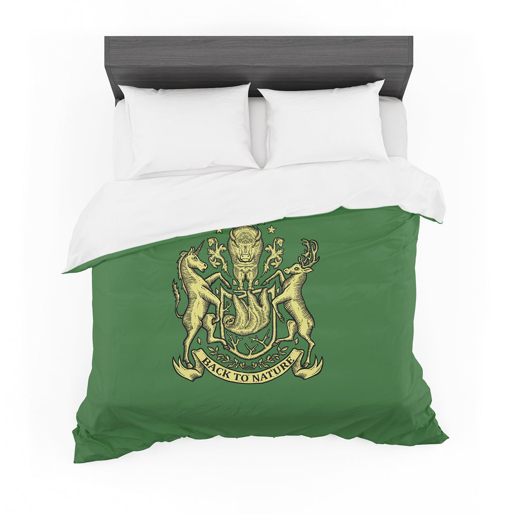 "BarmalisiRTB ""Back To Nature"" Gold Black Illustration Featherweight Duvet Cover - KESS InHouse  - 1"