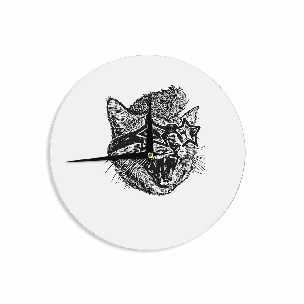 "BarmalisiRTB ""Funky Cat"" Black White Illustration Wall Clock - KESS InHouse"