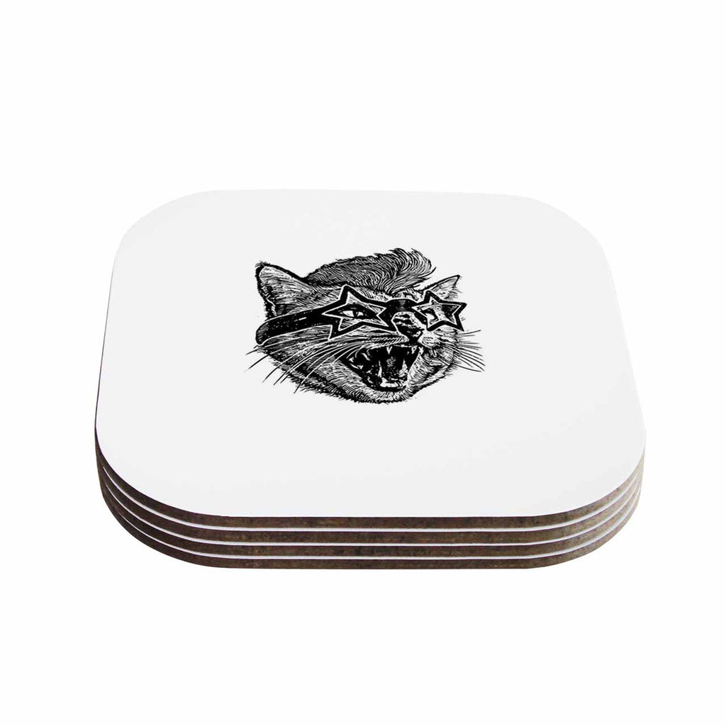 "BarmalisiRTB ""Funky Cat"" Black White Illustration Coasters (Set of 4)"