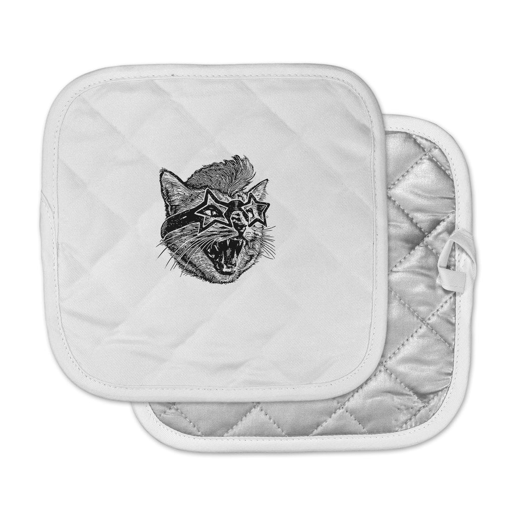 "BarmalisiRTB ""Funky Cat"" Black White Illustration Pot Holder"