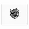"BarmalisiRTB ""Funky Cat"" Black White Illustration Fine Art Gallery Print - KESS InHouse"
