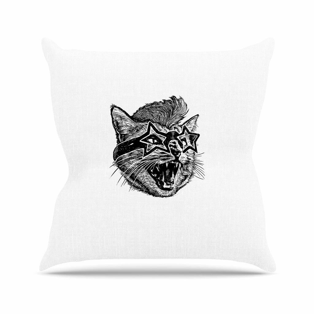 "BarmalisiRTB ""Funky Cat"" Black White Illustration Outdoor Throw Pillow - KESS InHouse  - 1"