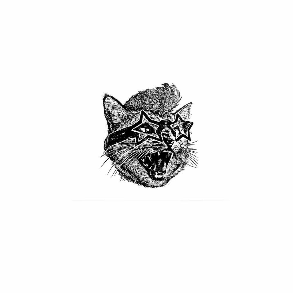 "BarmalisiRTB ""Funky Cat"" Black White Illustration Luxe Rectangle Panel - KESS InHouse  - 1"