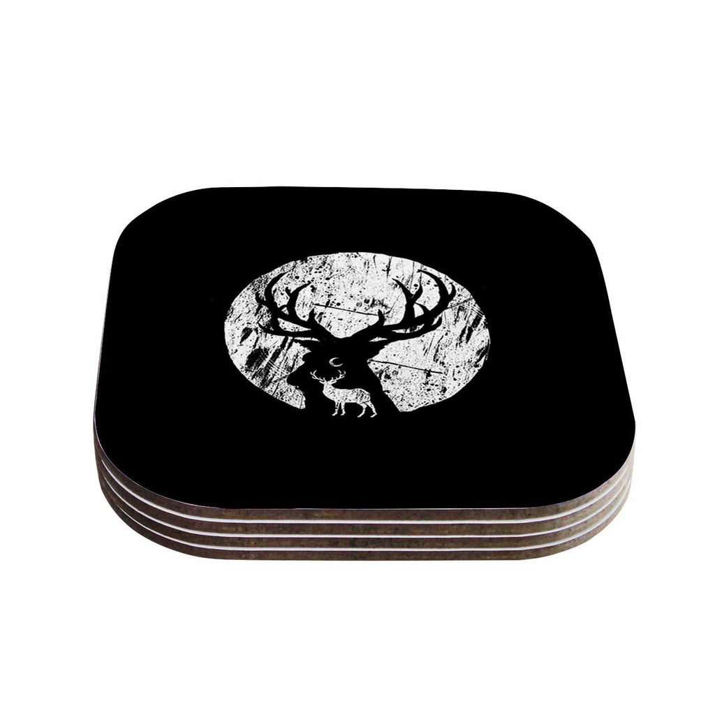 "BarmalisiRTB ""Deer At Night"" Black White Digital Coasters (Set of 4)"