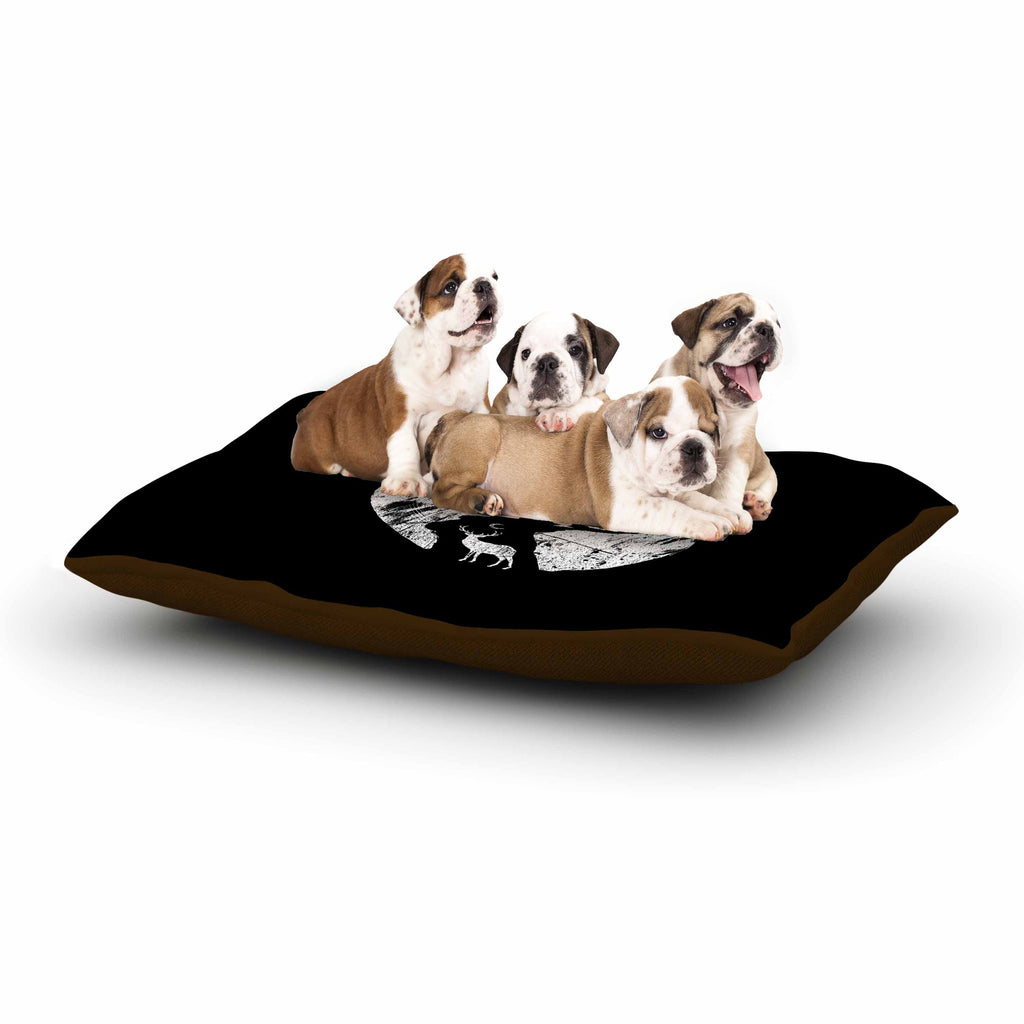 "BarmalisiRTB ""Deer At Night"" Black White Digital Dog Bed - KESS InHouse  - 1"