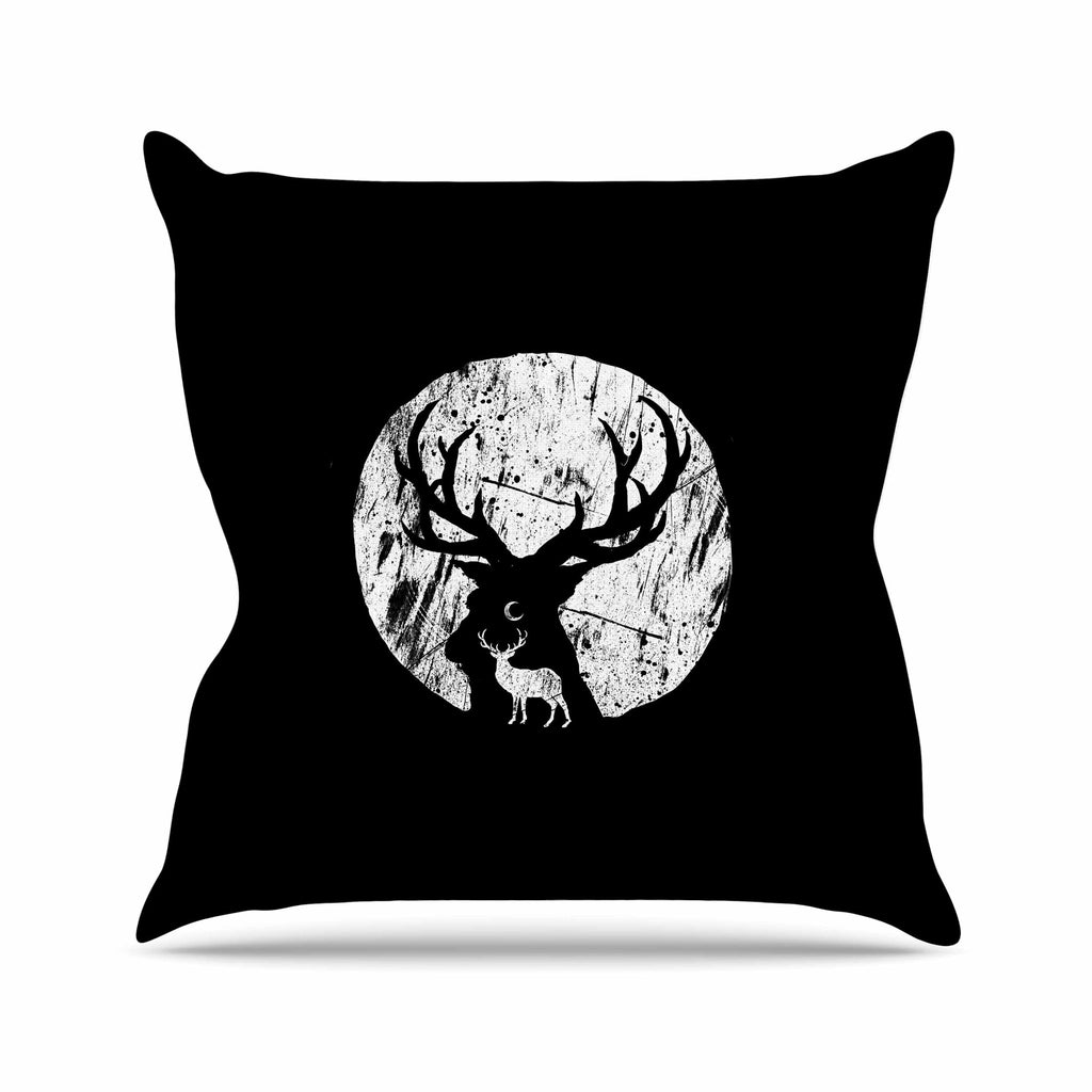 "BarmalisiRTB ""Deer At Night"" Black White Digital Throw Pillow - KESS InHouse  - 1"