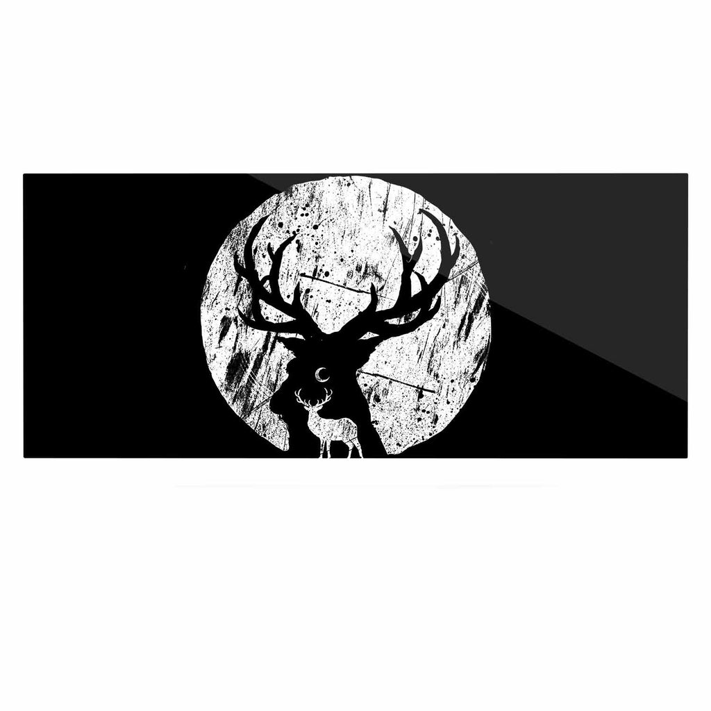 "BarmalisiRTB ""Deer At Night"" Black White Digital Luxe Rectangle Panel - KESS InHouse  - 1"