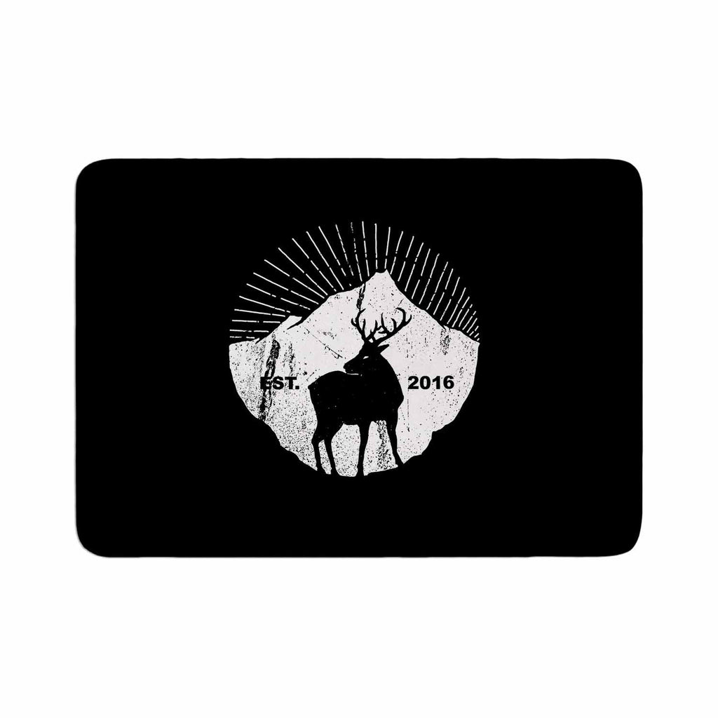 "BarmalisiRTB ""American Mountain Deer"" Black White Digital Memory Foam Bath Mat - KESS InHouse"