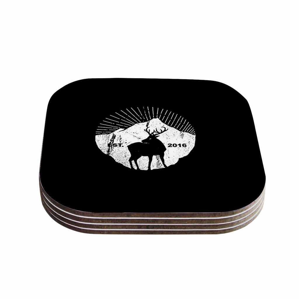 "BarmalisiRTB ""American Mountain Deer"" Black White Digital Coasters (Set of 4)"