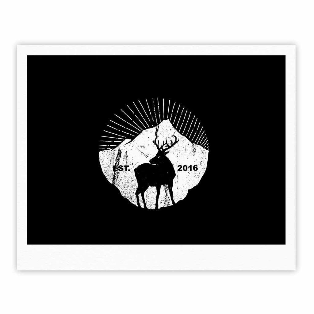 "BarmalisiRTB ""American Mountain Deer"" Black White Digital Fine Art Gallery Print - KESS InHouse"