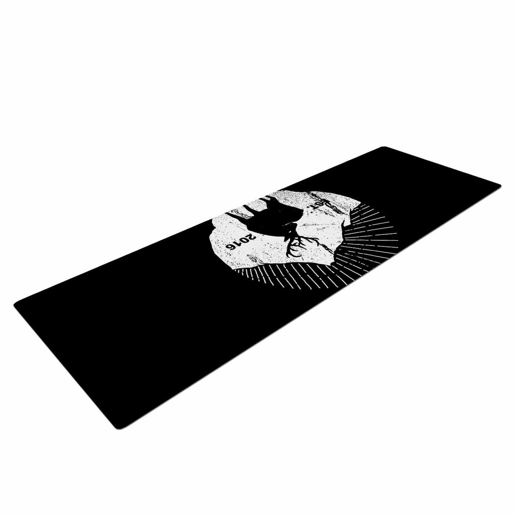 "BarmalisiRTB ""American Mountain Deer"" Black White Digital Yoga Mat - KESS InHouse  - 1"