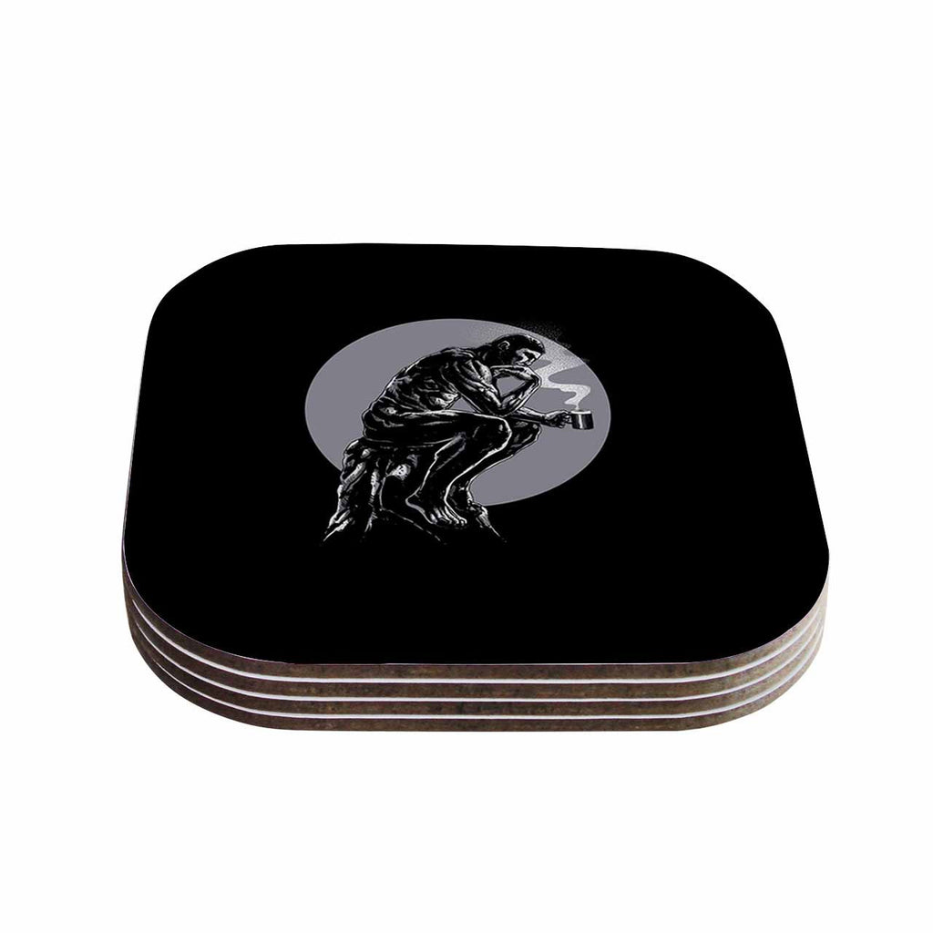 "BarmalisiRTB ""The Thinker Coffee"" Black White Digital Coasters (Set of 4)"