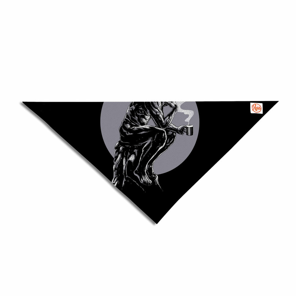 "BarmalisiRTB ""The Thinker Coffee"" Black White Digital Pet Bandana - KESS InHouse  - 1"