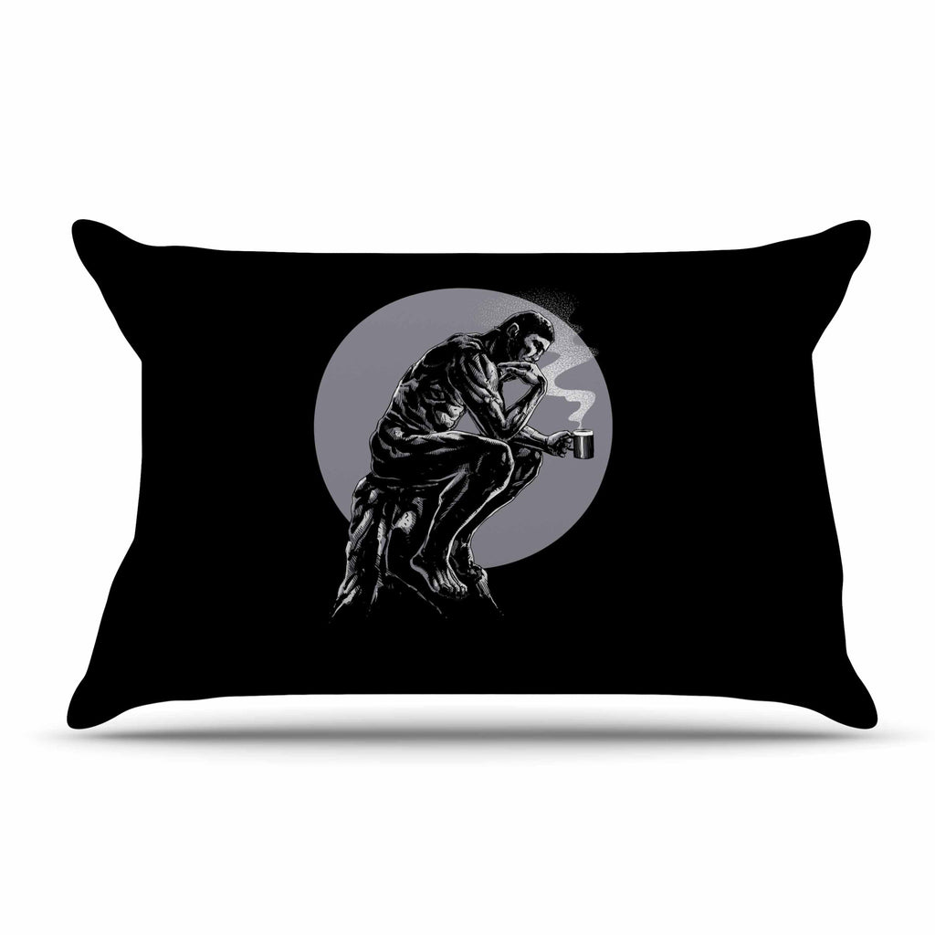 "BarmalisiRTB ""The Thinker Coffee"" Black White Digital Pillow Sham - KESS InHouse  - 1"