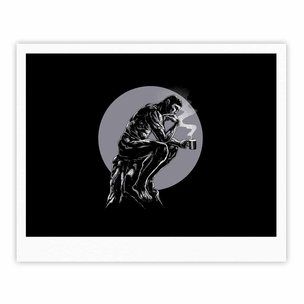 "BarmalisiRTB ""The Thinker Coffee"" Black White Digital Fine Art Gallery Print - KESS InHouse"