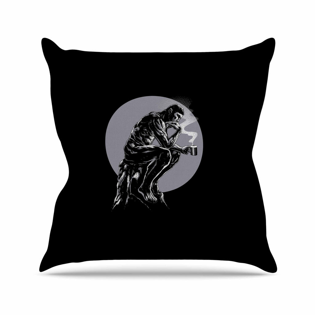 "BarmalisiRTB ""The Thinker Coffee"" Black White Digital Outdoor Throw Pillow - KESS InHouse  - 1"