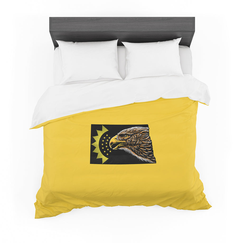 "BarmalisiRTB ""North Dakota"" Yellow Black Digital Featherweight Duvet Cover - KESS InHouse  - 1"