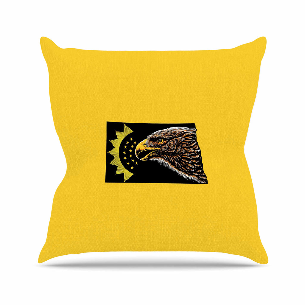 "BarmalisiRTB ""North Dakota"" Yellow Black Digital Throw Pillow - KESS InHouse  - 1"