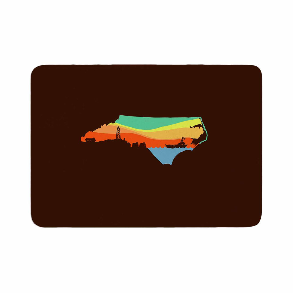 "BarmalisiRTB ""North Carolina"" Brown Orange Digital Memory Foam Bath Mat - KESS InHouse"