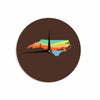 "BarmalisiRTB ""North Carolina"" Brown Orange Digital Wall Clock - KESS InHouse"