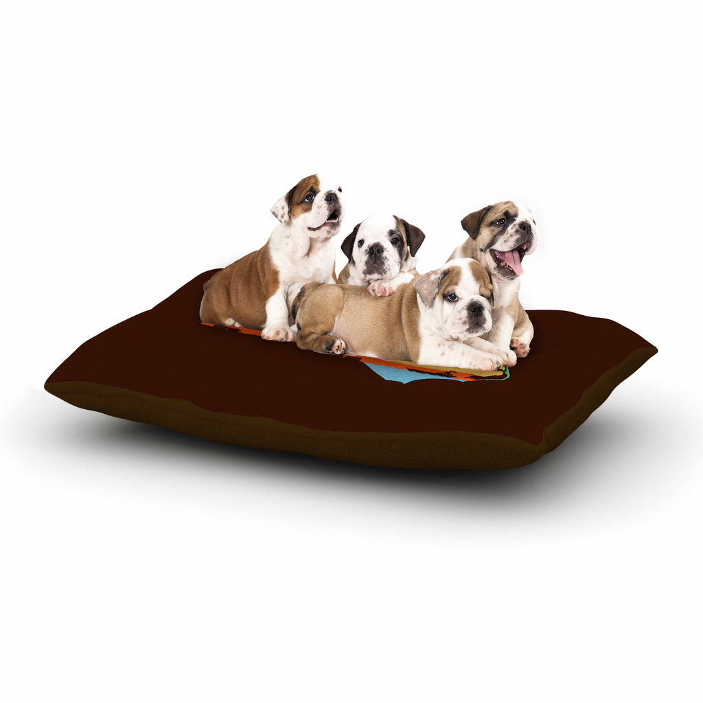 "BarmalisiRTB ""North Carolina"" Brown Orange Digital Dog Bed - KESS InHouse  - 1"
