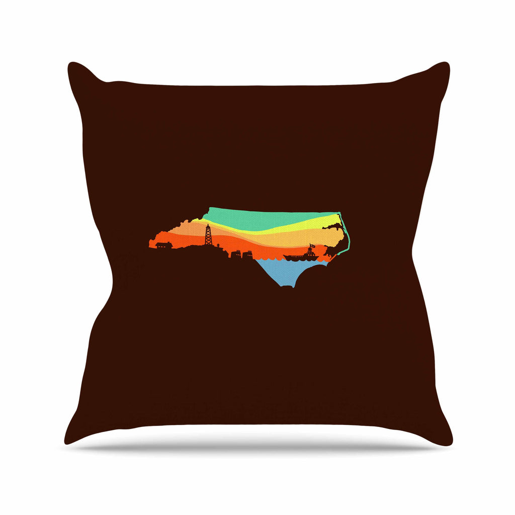 "BarmalisiRTB ""North Carolina"" Brown Orange Digital Outdoor Throw Pillow - KESS InHouse  - 1"