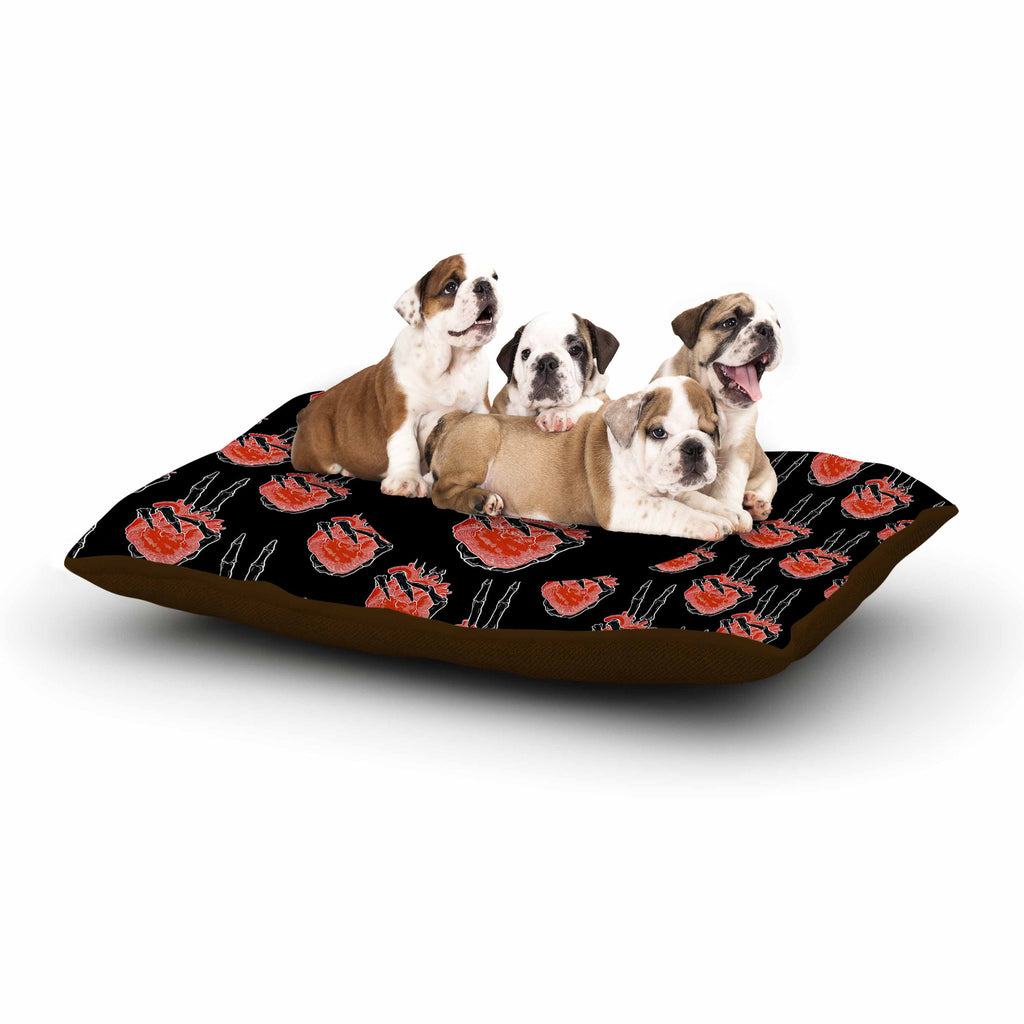 "BarmalisiRTB ""Peace Heart"" Black Red Digital Dog Bed - KESS InHouse  - 1"