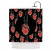 "BarmalisiRTB ""Peace Heart"" Black Red Digital Shower Curtain - KESS InHouse"