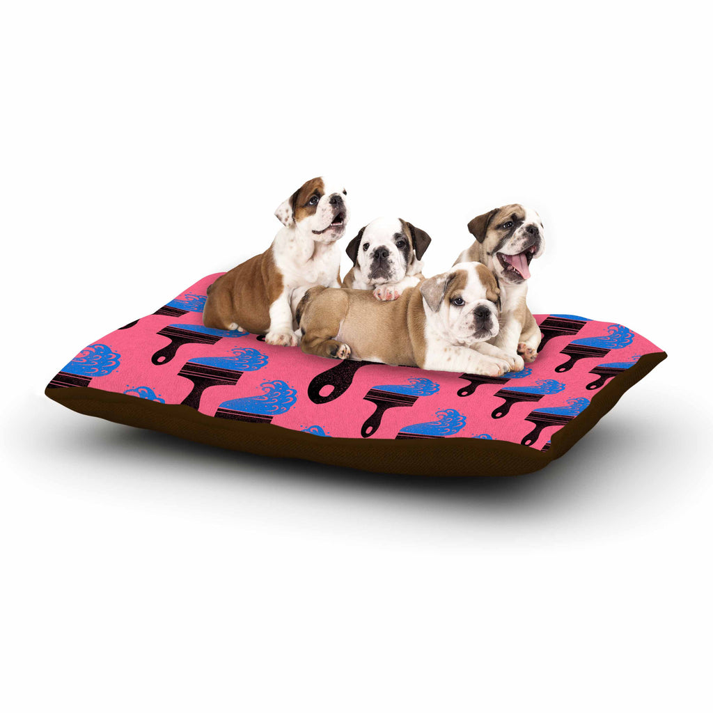 "BarmalisiRTB ""Paintbrush"" Black Blue Digital Dog Bed - KESS InHouse  - 1"