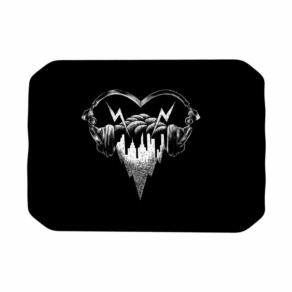 "BarmalisiRTB ""Love Music"" Black White Digital Place Mat - KESS InHouse"
