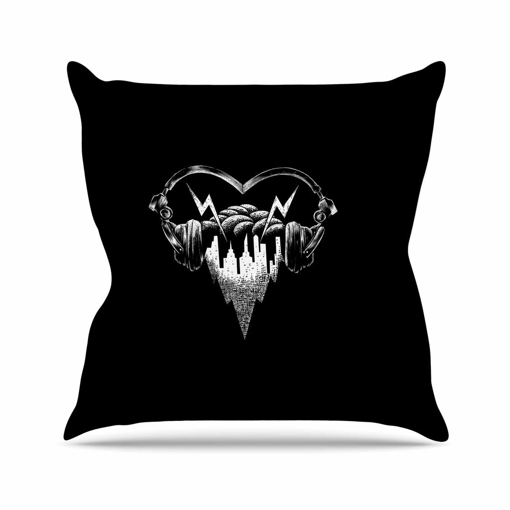 "BarmalisiRTB ""Love Music"" Black White Digital Outdoor Throw Pillow - KESS InHouse  - 1"