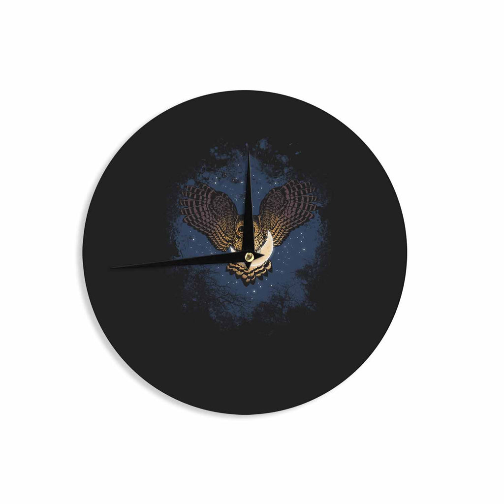 "BarmalisiRTB ""Catch The Moon"" Blue Yellow Digital Wall Clock - KESS InHouse"