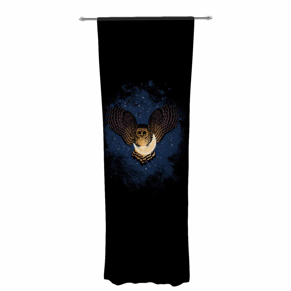"BarmalisiRTB ""Catch The Moon"" Blue Yellow Digital Decorative Sheer Curtain - KESS InHouse  - 1"