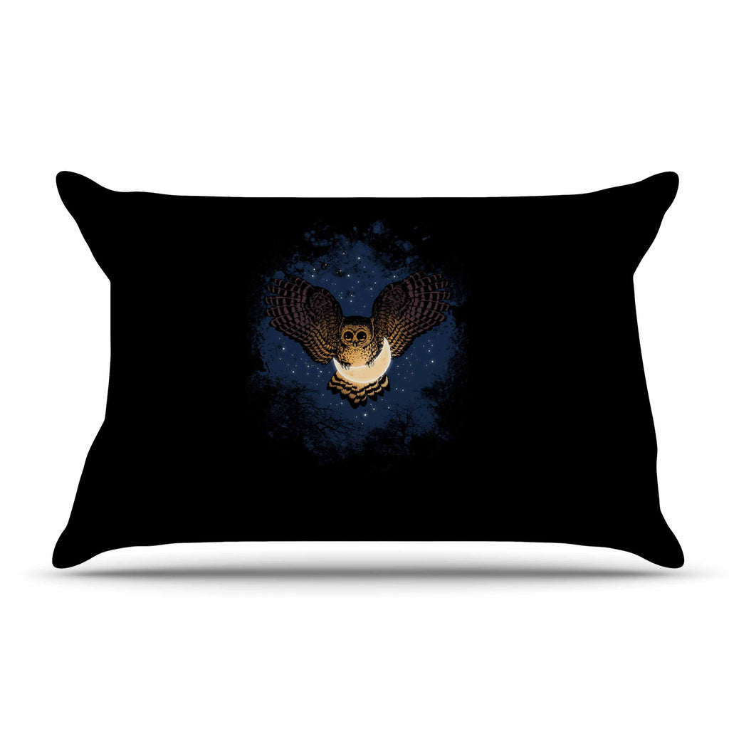 "BarmalisiRTB ""Catch The Moon"" Blue Yellow Digital Pillow Sham - KESS InHouse  - 1"