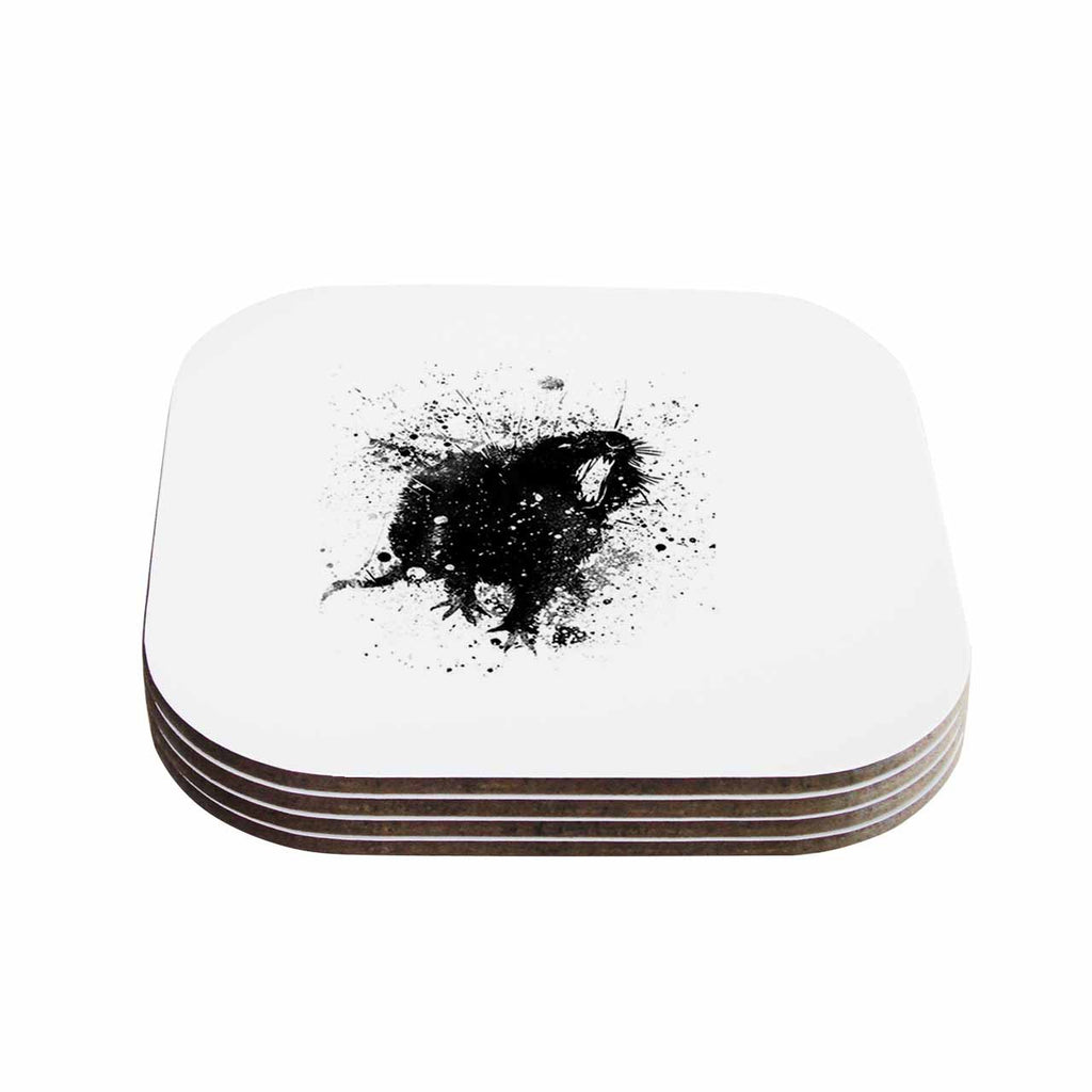 "BarmalisiRTB ""Rat"" Black White Digital Coasters (Set of 4)"