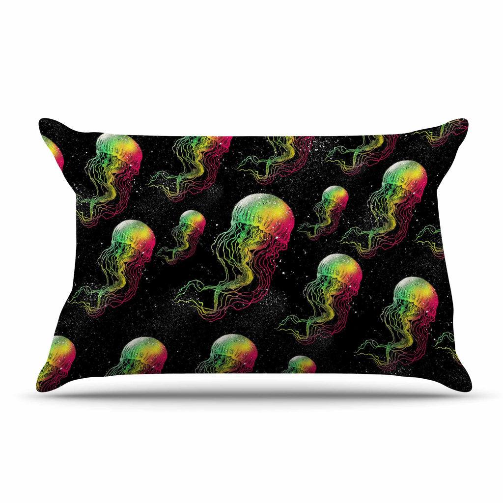 "BarmalisiRTB ""Rainbow Jellyfish"" White Black Digital Pillow Sham - KESS InHouse  - 1"