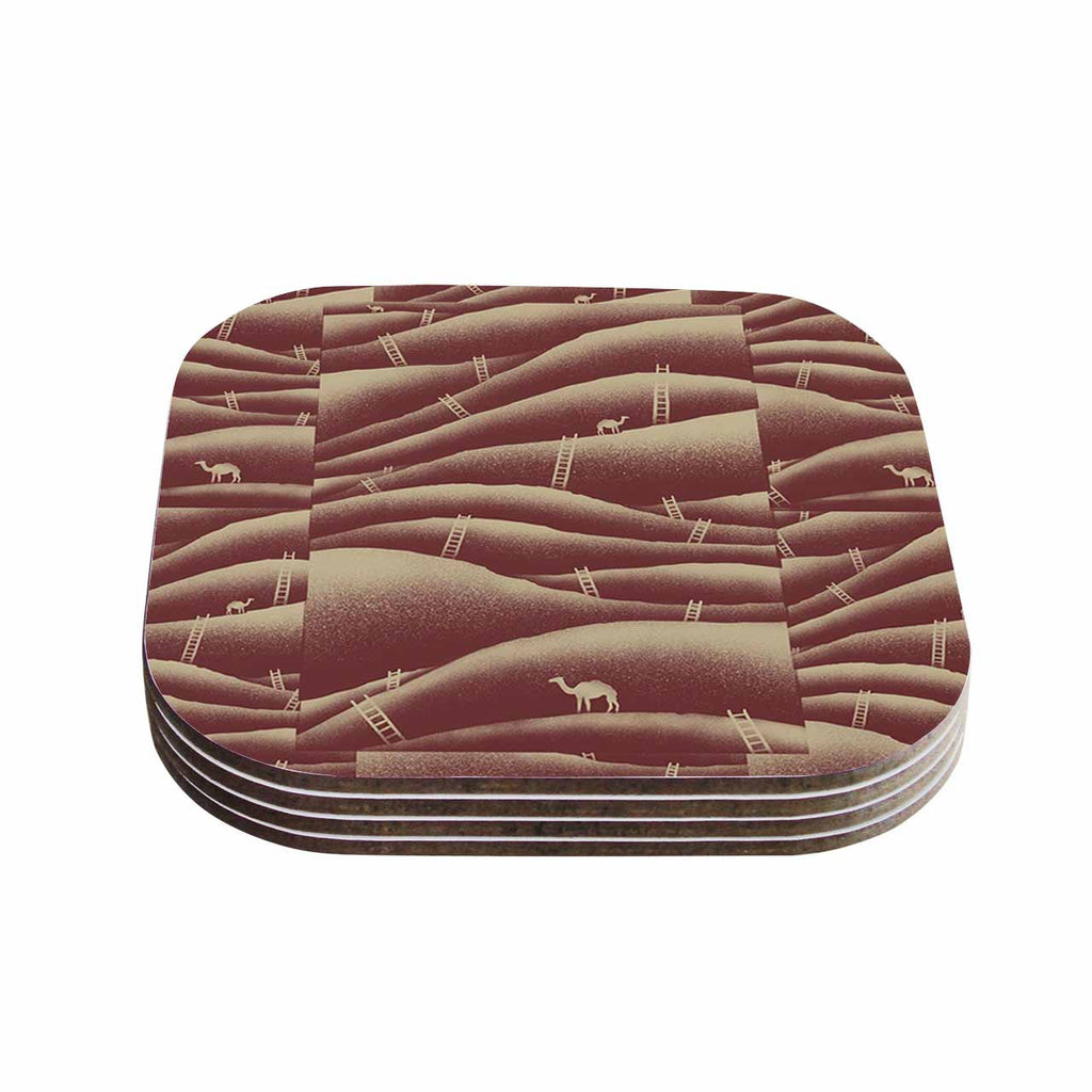 "BarmalisiRTB ""Camels And Ladders"" Brown Coral Digital Coasters (Set of 4)"