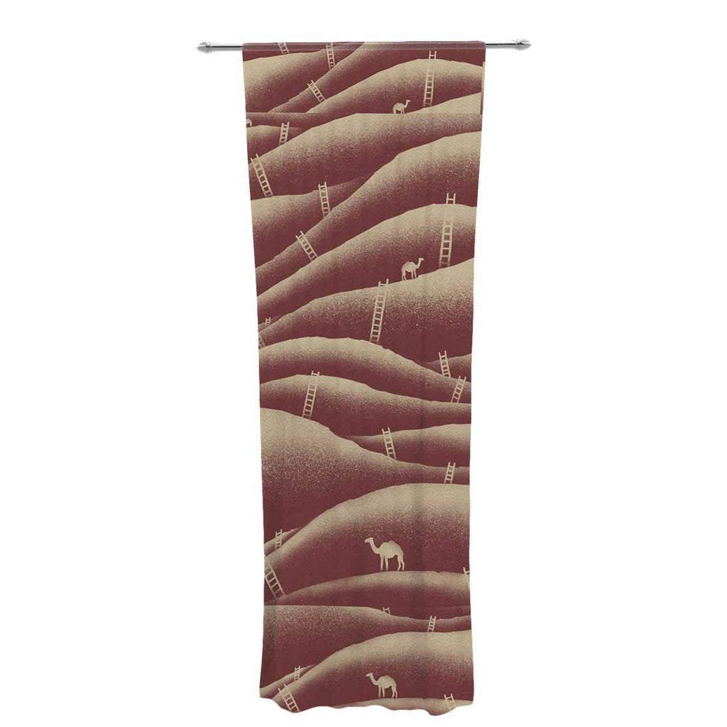 "BarmalisiRTB ""Camels And Ladders"" Brown Coral Digital Decorative Sheer Curtain - KESS InHouse  - 1"
