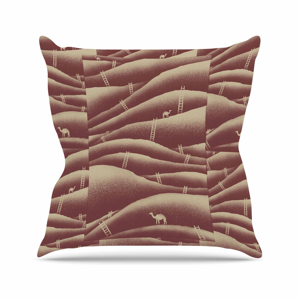 "BarmalisiRTB ""Camels And Ladders"" Brown Coral Digital Outdoor Throw Pillow - KESS InHouse  - 1"