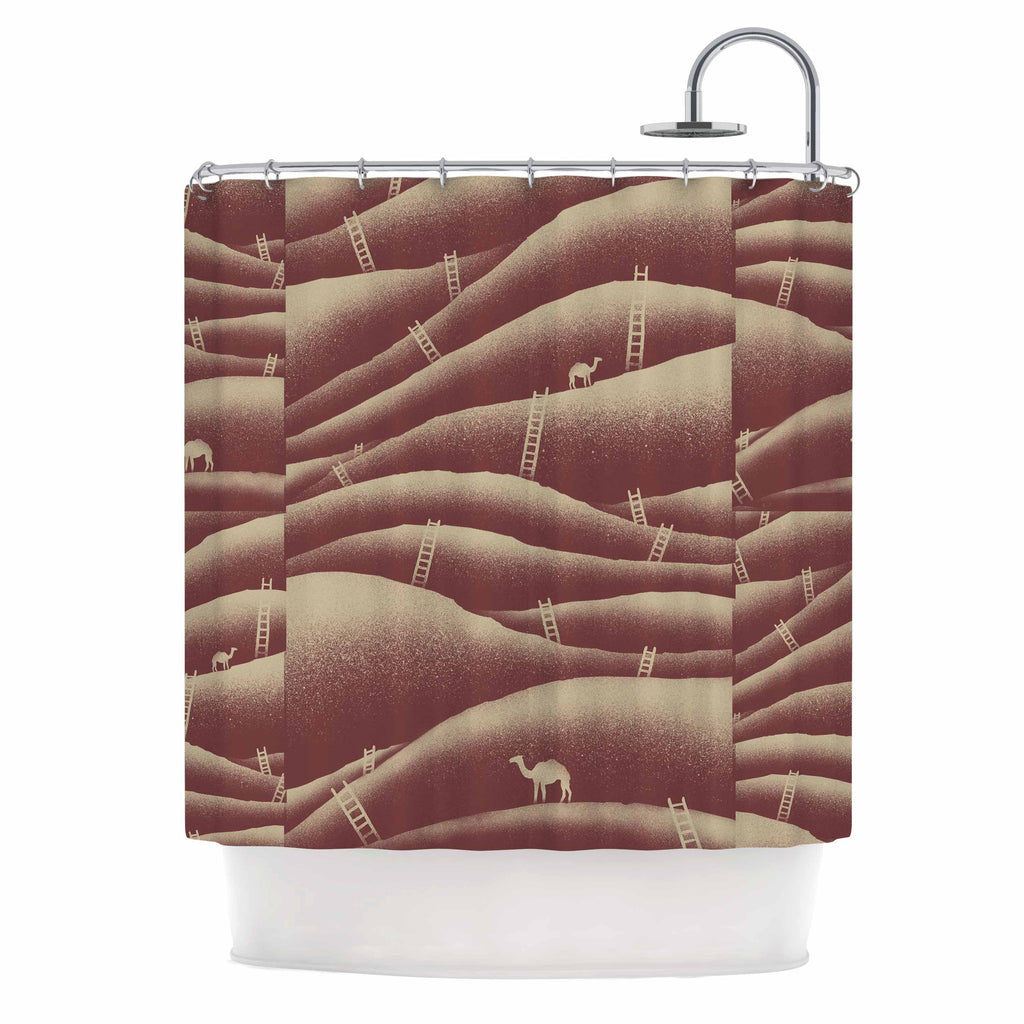 "BarmalisiRTB ""Camels And Ladders"" Brown Coral Digital Shower Curtain - KESS InHouse"