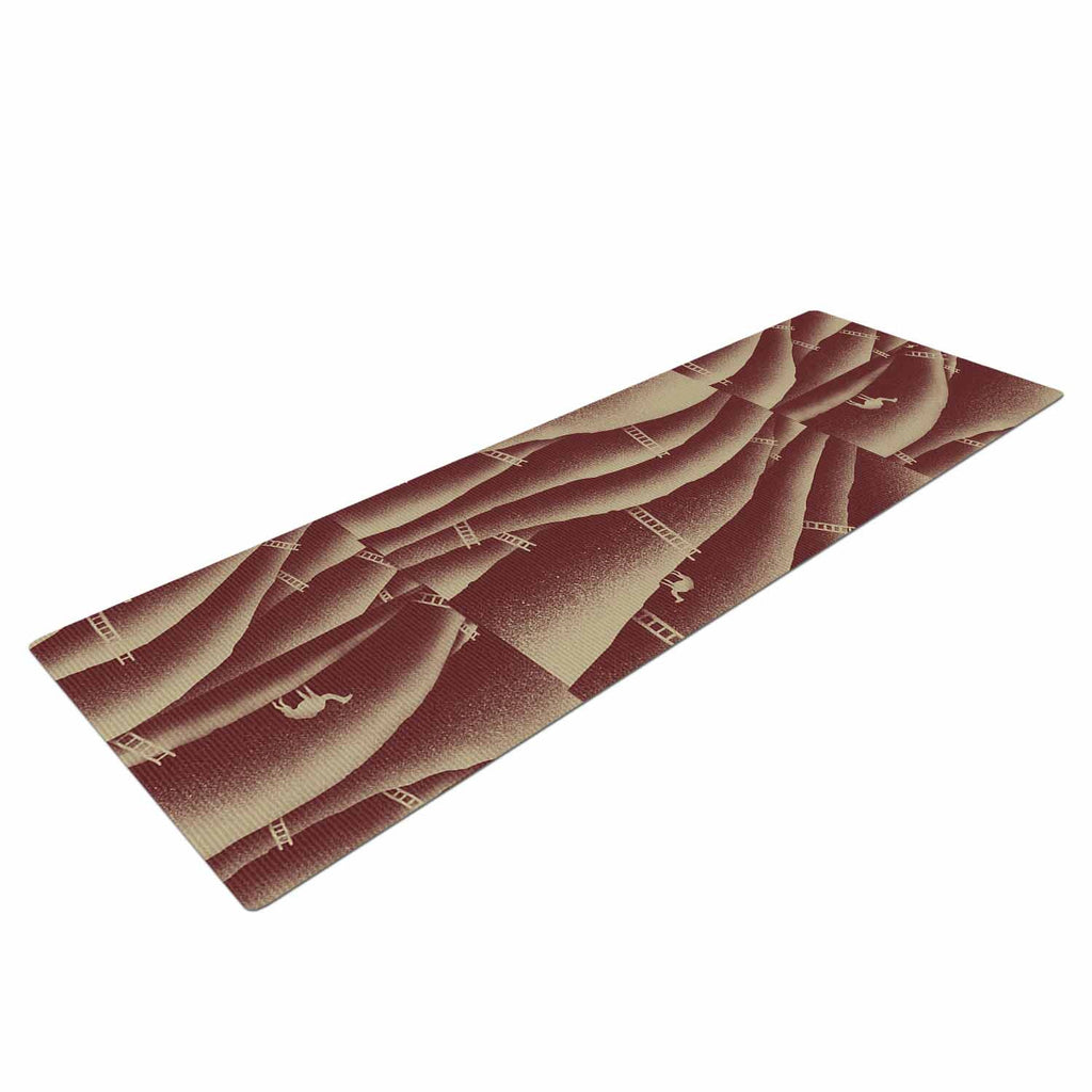 "BarmalisiRTB ""Camels And Ladders"" Brown Coral Digital Yoga Mat - KESS InHouse  - 1"