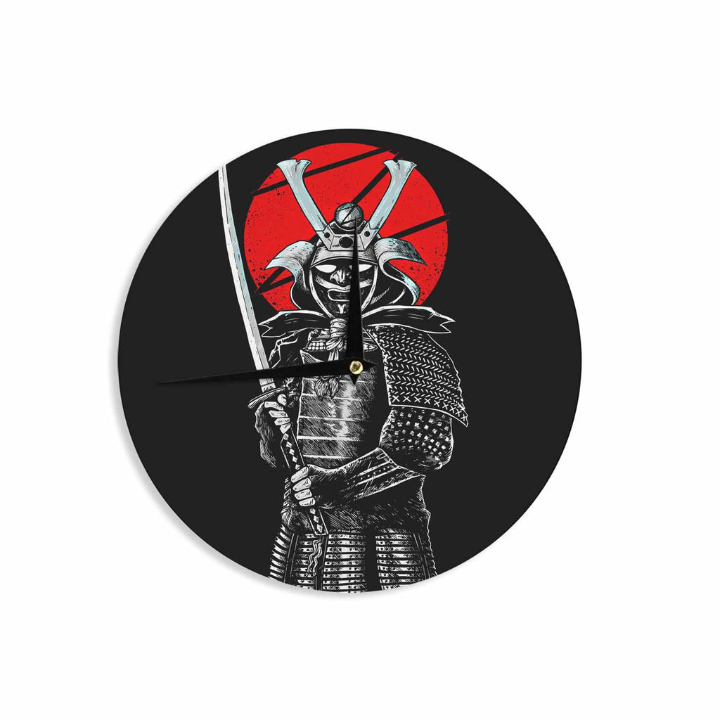 "BarmalisiRTB ""SamuraiZ"" Red White Digital Wall Clock - KESS InHouse"