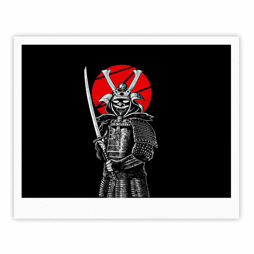 "BarmalisiRTB ""SamuraiZ"" Red White Digital Fine Art Gallery Print - KESS InHouse"