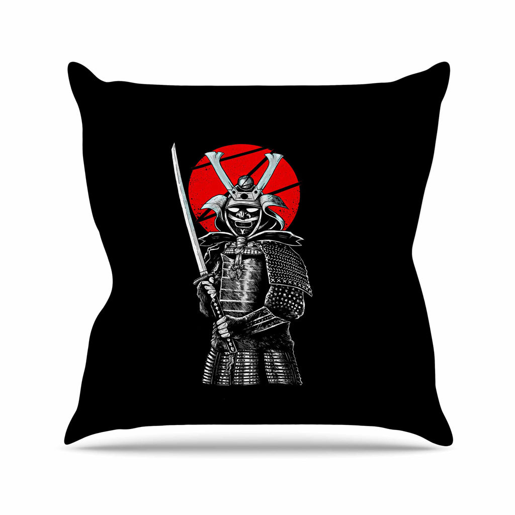 "BarmalisiRTB ""SamuraiZ"" Red White Digital Throw Pillow - KESS InHouse  - 1"